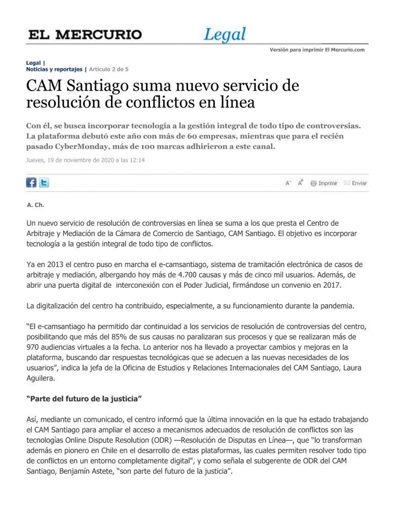 CAM Santiago suma nuevo servicio de resolución de conflictos en línea.